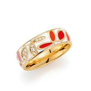 Goldener Ring mit buntem Muster und Steinen